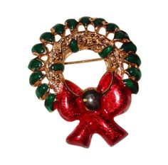 Vintage Green Enamel & Gold-tone Christmas Wreath with Big Red Bow by BeccasBestJewelry on Etsy
