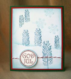Norwegian, Good Yule! The trees are small fir twigs from our stamp set Pines Fir Yew