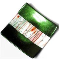 Fused Glass Christmas Platter, Red White Green, 9 ...