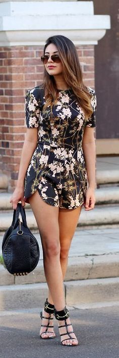 Floral romper, black high heels and bag