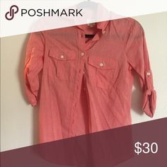 Jcrew factory button up Jcrew factory coral button up. Size xxs new without tags. Never worn J.Crew Factory Tops Button Down Shirts