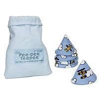 """For the Sprinkling Wee-Wee    Why is it that the act of diaper changing always seems to inspire an extra """"contribution"""" from the little one? Parents of baby boys have been particularly vulnerable - until now. Just place a pee-pee teepee on his wee-wee during diaper changes, and the hazard is averted. An ideal baby shower gift, the five powder blue 100% cotton pee pee teepees are decorated with airplanes and arrive in a miniature cotton laundry bag. Made in China."""