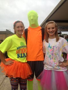 Neon day! Homecoming week Crazy Hat Day, Crazy Hats, Homecoming Week, Homecoming Ideas, Spirit Day Ideas, Cheers Stars, Old Lady Costume, Mad Hatter Costumes, Student Leadership