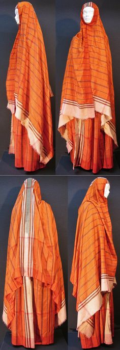A two-piece Islamic street-wear.  From Central Anatolia, late-Ottoman, ca. 1900-1925.  Consisting of two very large (mixt cotton & silk) 'peştemal', one worn as wrapper around the waist, and the other as outdoors headscarf.  (Inv.n° str002 - Kavak Costume Collection - Antwerpen/Belgium).