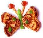 Butterfly:  Grilled cheese sandwich, celery, carrot sticks, cherry tomatoes, diced veggies.