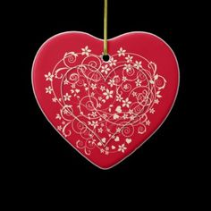 Lovely heart on red christmas ornament Red Christmas Ornaments, Create Your Own, Make It Yourself, Holiday Decor, Heart, Pretty, How To Make, Design, Home Decor