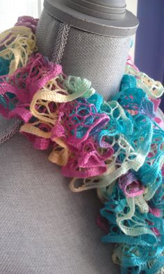 Pastel Colored Hand Knitted Ruffle Scarf by shorethingdesigns, $25.00