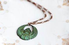 Egyptian Scarab Necklace Good Luck Pendant Patina Scarab Verdigris Pendant Egyptian Jewelry - N165. $25.00, via Etsy.