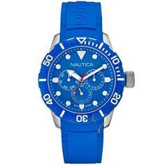 Ρολόι Nautica NSR 101 Blue Rubber Strap - A13649G - http   rologia. f54b1bef8ba