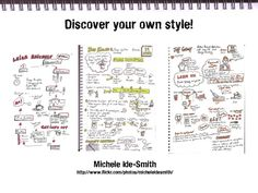 Getting Started With Sketchnoting.I keep notes of meetings, workshops, etc. in my bullet planner/memory book Visual Thinking, Design Thinking, Visual Note Taking, Note Doodles, Visual Literacy, Journal Paper, Art Journals, Sketching Tips, Sketch Notes