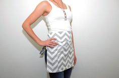 Grey Chevron Print Half Apron Server Barista Utility Apron Crafter Vendor Teacher Gardener Half Apron, Retro Shirts, Grey Chevron, Barista, Aprons, Sewing Ideas, Classroom Ideas, High Neck Dress, Teacher