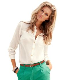 Blouse $12.95 H&M love this look! Color pants a very in this spring!