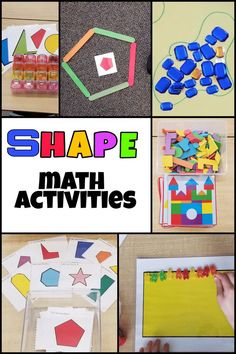 Creative, hands-on ways to teach shapes to young kids. 5 centers and ideas to run your math activities. I used these activities in the classroom with year olds, but they would be perfect for home as well. Preschool Math, Kindergarten Math, Fun Math, Math Games, Learning Activities, Activities For Kids, Shape Activities, Elementary Math, Preschool Shapes