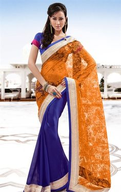 Picture of Traditional Orange and Blue Color Saree for Party