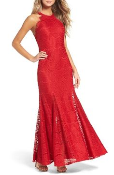 Free shipping and returns on Morgan & Co. Open Back Gown at Nordstrom.com. Dance the night away in a red-hot evening gown made in luxe scalloped lace with a revealing open back and swingy mermaid skirt.