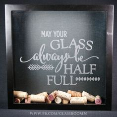 Wine Cork Shadow Box Half Full by Glassroom26 on Etsy #WoodCraftsWine