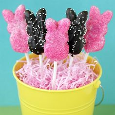 Peeps Pops - Chocolate covered w/ sprinkles JLB: Grocery was sold out of bunnies, so I used the chicks instead. I made a couple totally covered, but you couldn't tell what they were. For the rest, I just dipped the bottom half in chocolate and then in nonpareils. Will totally make these again.