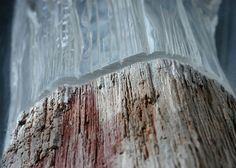The sculptures by Dutch artist Diederik Storms, based in Bellingwolde, who mixes with subtlety petrified wood, stone and plexiglass to provide transparency Banksy, Mixed Grill, Organic Sculpture, Resin Sculpture, Wooden Sculptures, Plexiglass, Cast Glass, Dutch Artists, Petrified Wood