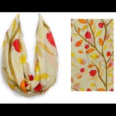 "Coming Soon! Beautiful beige polyester infinity... Autumn leaves in warm yellow, orange and red float across this beautiful 20"" wide beige infinity scarf in soft easy-care polyester. Other"