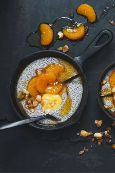 Warm Chia Porridge with ClemenGolds and Caramelised Macadamia Nuts via Breakfast Bowls, Breakfast Recipes, Bean Seeds, Whole Eggs, Perfect Breakfast, Superfood, Roast, Vanilla, Cooking Recipes