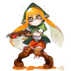 1girl belt boots bow_(weapon) compass cosplay crossbow domino_mask female hood inkling knees_together_feet_apart linkle linkle_(cosplay) long_hair mask miniskirt orange_eyes orange_hair pointy_ears shirt skirt solo splatoon tentacle_hair the_legend_of_zelda thigh-highs thigh_boots weapon zelda_musou