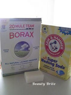 homemade laundry soap- 1 cup borax 1 cup washing soda 1 bar soap