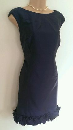 Elaine? Gorgeous COAST Silk Evening Dress, Size 12. French Navy.