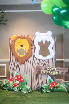 Animal feeding game at a jungle birthday party! See more party ideas at CatchMyParty.com!