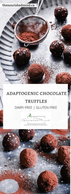 This delicious dairy-free and healthy chocolate truffles recipe is easy to make and (thanks to ashwagandha)-- the ultimate chill pill. Healthy Eating Recipes, Real Food Recipes, Healthy Desserts, Healthy Meals, Healthy Food, Easy Gluten Free Desserts, Great Desserts, Chocolate Truffles, Chocolate Chip Cookies