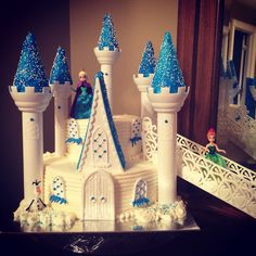Frozen castle cake with stairs
