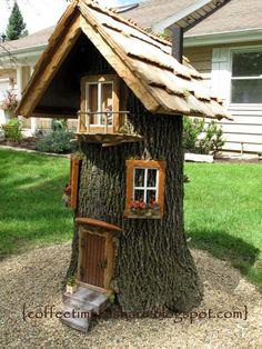 Fairy garden designs - Coffee Time to Share Gnome house for rent ) Fairy Tree Houses, Fairy Garden Houses, Gnome Garden, Garden Trees, Planter Garden, Fairies For Fairy Garden, Garden Ideas With Tree Stumps, Diy Fairy House, Fairy Garden Doors