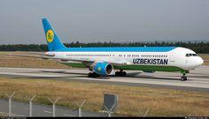 Uzbekistan Airways Boeing 767-33P/ER (registered UK67005) taxiing at Frankfurt