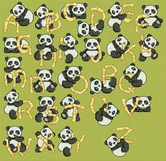 Baby Panda Cross Stitch Patterns | Item: Bamboo Panda Alphabet (Cross-stitch chart)