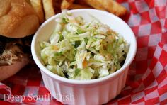 Apple Coleslaw -  A basic vinegar coleslaw made with the addition of sweet apples and a touch of jalapeno for heat.
