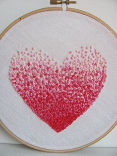 Embroidery French knot pink heart hoop art by bearatam on Etsy, $20.00