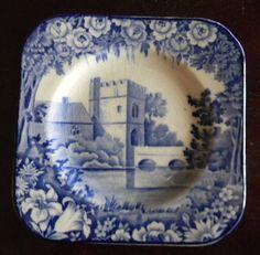 RARE Vintage Blue Transferware Square Canape Plate Roses Broughton Castle Wood…