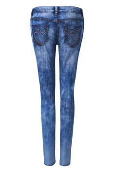 Blue Cloud Wash Skinny Jeans