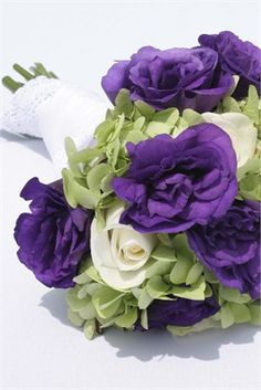Purple bridal bouquet Purple Bouquets, Purple Wedding Flowers, Bridesmaid Bouquet, Wedding Bouquets, Wedding Dress, Fall Wedding, Dream Wedding, Wedding Stuff, Wedding Planning