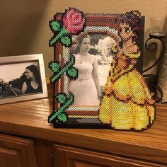 Belle picture frame perler beads by notenoughspoons