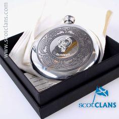 MacDonald Clan Crest Sporran Flask. Free Worldwide Shipping Available