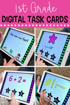 These digital task cards are perfect for your first grade students to practice essential reading and math skills. The task cards play through Powerpoint and are self checking! With over 50 skills included, they can last your whole school year. Number Sense Activities, Geometry Activities, Kindergarten Activities, Phonics Activities, Common Core Reading, Common Core Math, Fun Math, Math Literacy, Math Education