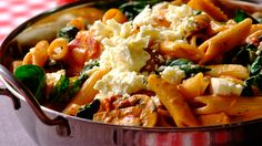 Pasta with Sundried Tomato, Butternut & Baby Spinach. One of our most popular recipes! Vegetarian Pasta Dishes, Veggie Dishes, Vegetable Recipes, Vegetarian Recipes, Healthy Recipes, Meal Recipes, Yummy Recipes, Healthy Food, Feta