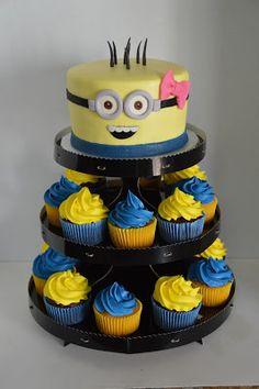 Girl Minion Cupcake Tower Minions Birthday Theme, Minion Theme, 2nd Birthday Parties, Baby Birthday, Birthday Party Decorations, Birthday Cake, Birthday Ideas, Torta Minion, Minion Cupcakes