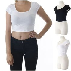 ebclo - Cute Black & White Basic Crop Top Tee Short Sleeve NEW $11.00 Free Domestic Shipping