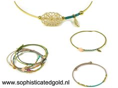 Beautiful fashionable bangle bracelets. Gold plated with silk and charms. Every piece is unique. Get your at www.sophisticatedgold.nl