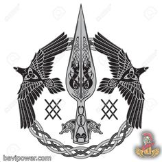 The Spear Of The God Odin – Gungnir. Two ravens and Scandinavian pattern, isolat… – Norse Mythology-Vikings-Tattoo Viking Tattoo Sleeve, Norse Tattoo, Viking Tattoos, Armor Tattoo, Warrior Tattoos, Inca Tattoo, Art Viking, Viking Symbols, Mayan Symbols