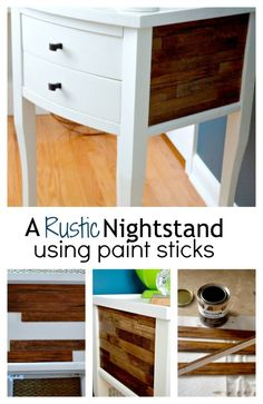 A rustic nightstand makeover using paint sticks, stain and glue. chatfieldcourt.com