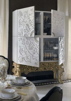 Every single room has a storage need, where a contemporary cabinet or modern buffets can certainly be fitted. #buffetsandcabinets #bocadolobo #barcabinets #moderncabinets #luxurydesign #contemporarydesign Office Furniture Design, Luxury Furniture, Modern Furniture, Painted Furniture, Luxury Dining Room, Dining Room Design, Best Interior Design, Interior Design Inspiration, Modern Buffet