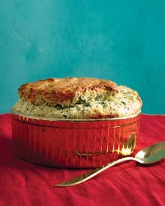 Spinach and Gruyere Souffle - Made it in two large ramekins.  Liked it, husband wanted more for a meal...but it was substantial.  I'd make again as a starter for a dinner party.