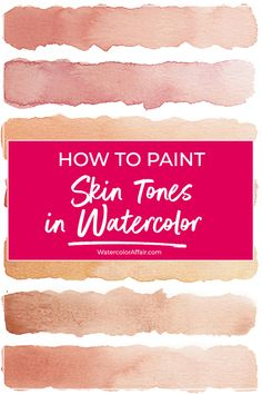 Flesh colors can be tricky in watercolor painting. This article provides tips and a tutorial about mixing Flesh colors can be tricky in watercolor painting. This article provides tips and a tutorial about mixing realistic skin tones with watercolors. Watercolor Skin Tones, Watercolor Tips, Watercolour Tutorials, Watercolor Techniques, Watercolor Paintings, Watercolours, Watercolor Portrait Tutorial, Watercolor Classes, Watercolor Art Lessons